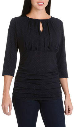 Larry Levine Printed Slit Neck Ruched Knit Top