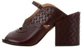 Dries Van Noten Peep-Toe Leather Mules w/ Tags