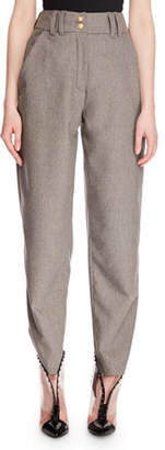 Balmain High-Waist Zip-Front Tapered-Leg Wool Suit Pants
