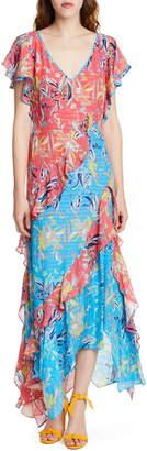 Tanya Taylor Iliana Floral Asymmetrical Silk Maxi Dress