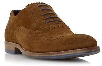 Dune Mens BUDLEIGH Colour Pop Lace Suede Brogue in Tan Size UK 6