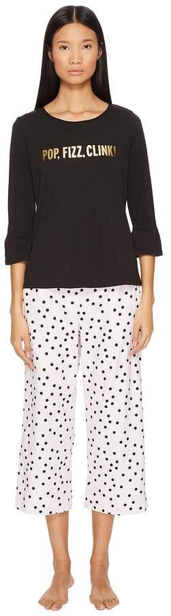 Kate Spade New York - Pop, Fizz, Clink Cropped Pajama Set Women's Pajama Sets