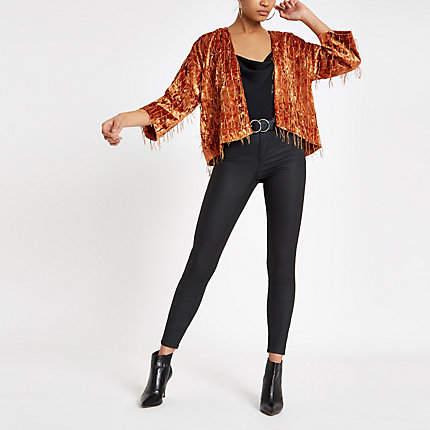 Womens Orange fringe trophy jacket