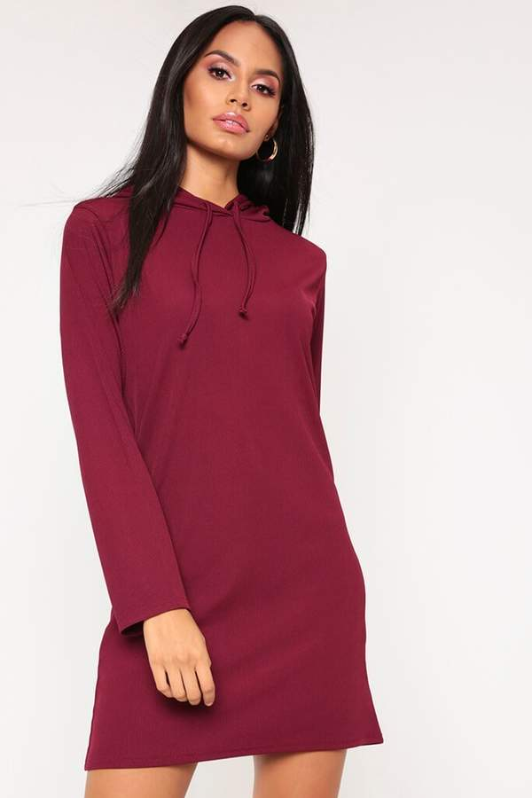 Isawitfirst Burgundy Ribbed Hooded Dress