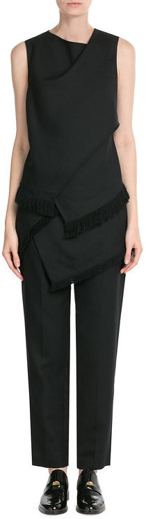 3.1 Phillip Lim 3.1 Phillip Lim Tapered Wool Pants with Fringed Asymmetric Skirt