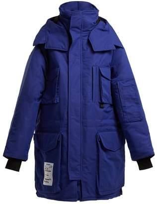 Vetements Oversized Double Layer Cotton Blend Parka - Womens - Blue