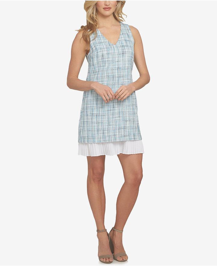 CeCe V-Neck Pleated Hem Shift Dress