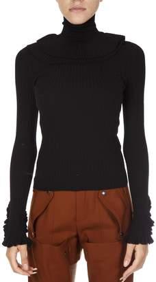 Chloé Black Wool Turtle Neck Ruffle Sweater