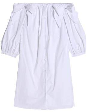 Claudie Pierlot Rome Off-The-Shoulder Bow-Embellished Cotton-Poplin Dress