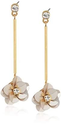 GUESS Floral La Femme Women's Sequin Flower On Stick Linear Drop Earrings