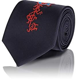 Alexander McQueen MEN'S EMBROIDERED SILK NECKTIE-NAVY