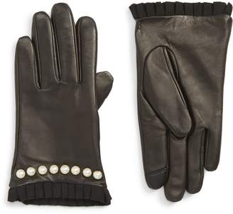 Echo Imitation Pearl Trim Leather Touchscreen Gloves
