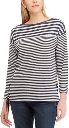 Chaps Women s Striped Lace-Up Hem Top 8926073f7