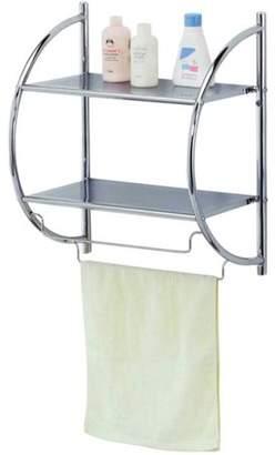 Home Basics Chrome Bathroom 2-Tier Shelf