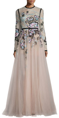 Elie Saab Floral-Embroidered Long-Sleeve Gown, Blush/Multi $9,000 thestylecure.com