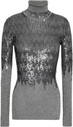 Missoni Sequin-embellished Metallic Stretch-knit Turtleneck Top