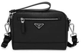 Prada Men's Saffiano Leather Travel Crossbody Bag - Black