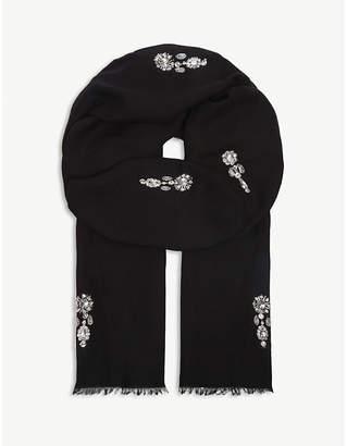 Janavi Crystal-embellished Merino wool scarf