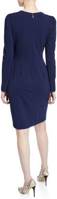 Donna Karan Long-Sleeve Sheath Dress with Ruched Shoulders