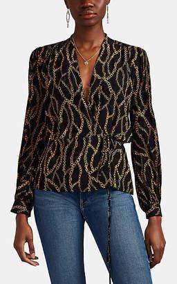 L'Agence Women's Cara Chain-Print Silk Wrap Blouse - Black