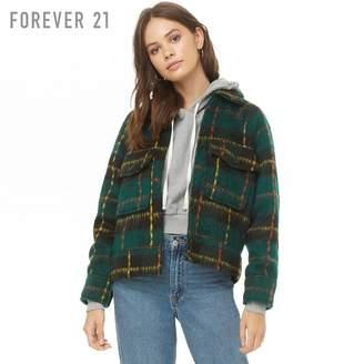 Forever 21 (フォーエバー 21) - Forever 21 ブラッシュドプレイドチェックジャケット