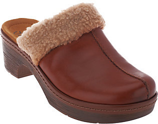 ClarksClarks Leather Clogs with Faux Fur Collar - Preslet Grove
