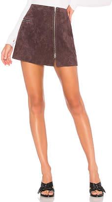 Blank NYC BLANKNYC Asymmetrical Zip Suede Mini Skirt