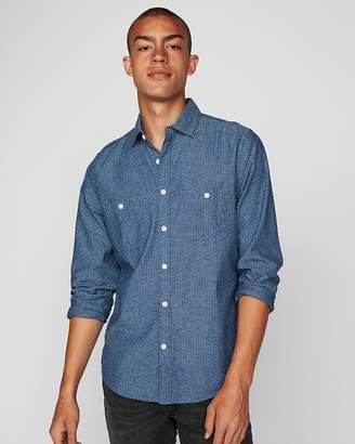 Express Slim Micro Dot Denim Two Pocket Shirt
