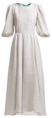 Anna October - Open Back Silk Blend Lame Midi Dress - Womens - Silver