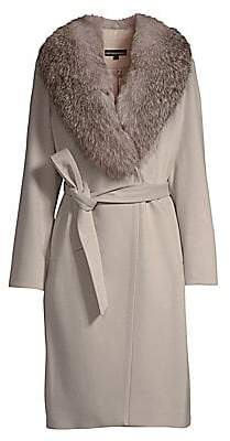 Sofia Cashmere Women's Natural Fox Fur Collar Wool & Cashmere Belted Coat