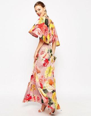 ASOS WEDDING Pleated Maxi Dress with Drape Back Cape Sleeve $128 thestylecure.com