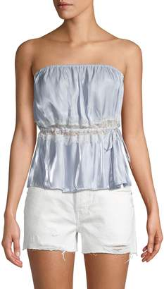 Free People Intimately Ruffle Lace-Inset Cropped Top