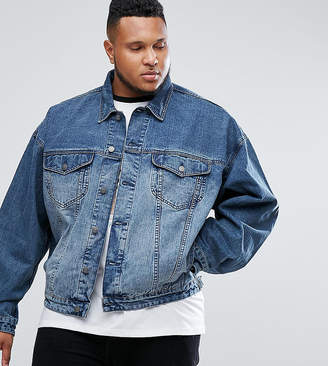 Asos Design Plus Oversized Denim Jacket In Mid Wash