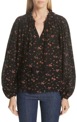 Ulla Johnson Siarah Floral Print Broderie Anglaise Blouse