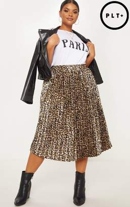 PrettyLittleThing Plus Tan Leopard Pleated Midi Skirt
