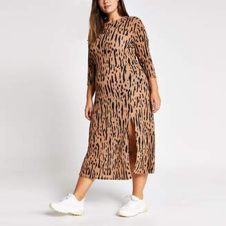 River Island Womens Plus Brown printed A line midi dress