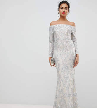 Bariano embellished patterned sequin off shoulder maxi dress in silver