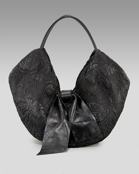 Valentino Floral Straw Bow Hobo