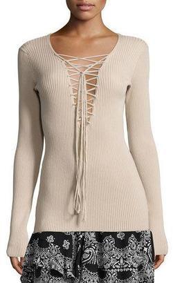 A.L.C. Solana Laced Ribbed Sweater, Whisper $325 thestylecure.com