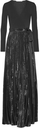 Diane von Furstenberg - Heavyn Pleated Metallic Stretch-crepe Wrap Maxi Dress - Black $1,000 thestylecure.com