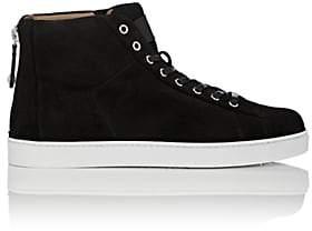 Gianvito Rossi Men's Back-Zip Suede Sneakers - Black