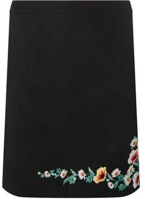 Dorothy Perkins Womens Black Embroidered Mini A-Line Skirt