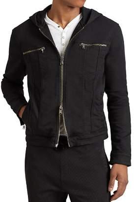 John Varvatos Hooded Zip-Front Knit Jacket