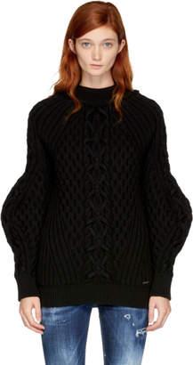 DSQUARED2 Black Chunky Wool Mini Dress