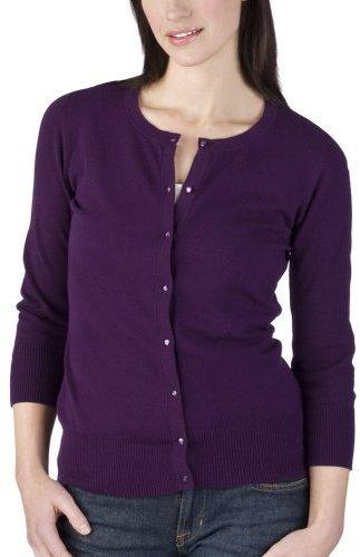 Merona Petites: 3/4 Sleeve Jersey Cardigan - Purple