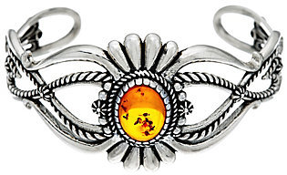 American West Sterling Silver Amber Cuff Bracelet by American West
