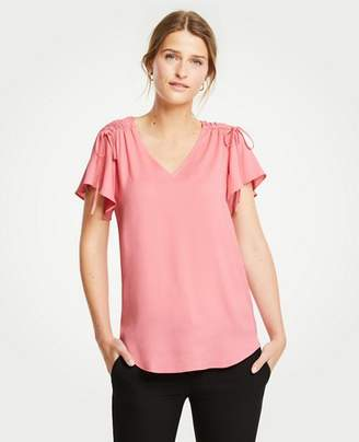 Ann Taylor Petite Ruched Shoulder Tie Top