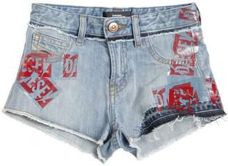Diesel Rubber Logo Cotton Denim Shorts