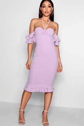 boohoo Double Ruffle Off The Shoulder Midi Dress