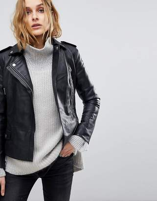 Muu Baa Muubaa Vila Fitted Cropped Leather Biker Jacket